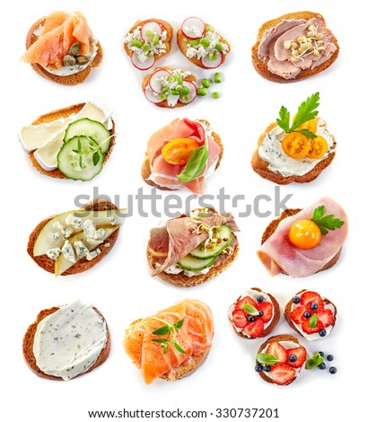 various bruschettas isolated on white background, top view #330737201