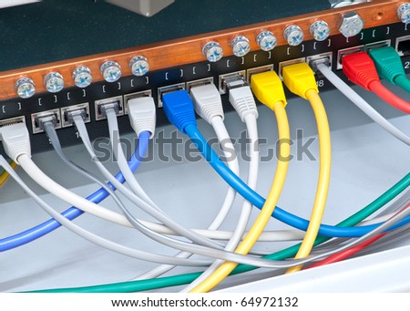 Various cables connected to the switch