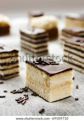 Various cake pieces of chocolate and vanilla filling.