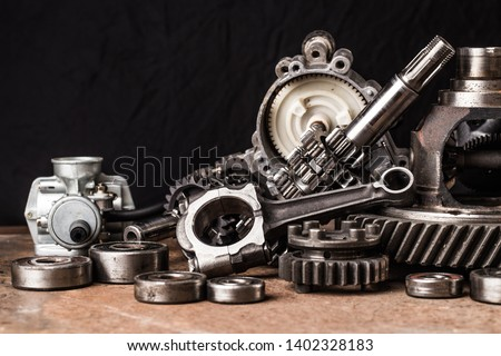 Various car parts and accessories, on black  background #1402328183