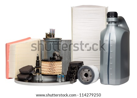 Various car parts necessary for vehicle service