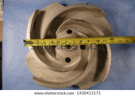 "Various casting defects in a ~13"" diameter ASTM A990 Grade CN3MCu (Modified) cast impeller #1430413175"