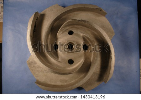 """Various casting defects in a ~13"""" diameter ASTM A990 Grade CN3MCu (Modified) cast impeller #1430413196"""