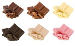 various chocolate pralines isolated on white background (Dark, milk , White, Extra dark , caramel,Ruby chocolates )
