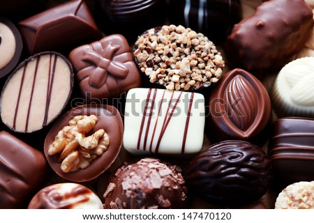 Various Chocolates As A Background - Sweet Food