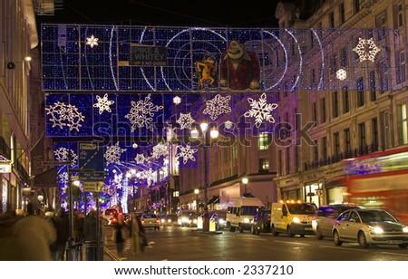 Various Christmas lights display on the street of London