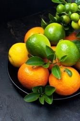 Various citrus fruits (mandarin, lemon, lime)  with fresh green leaves on  dark background