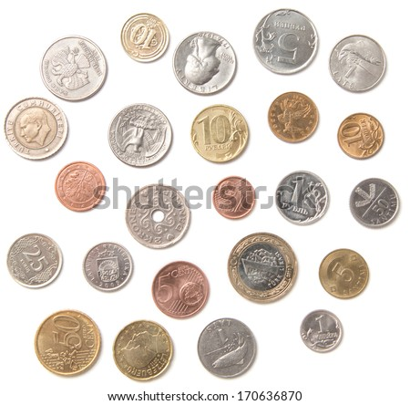 Various coins from different countries isolated over white