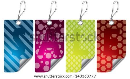 Various color design label set with textures