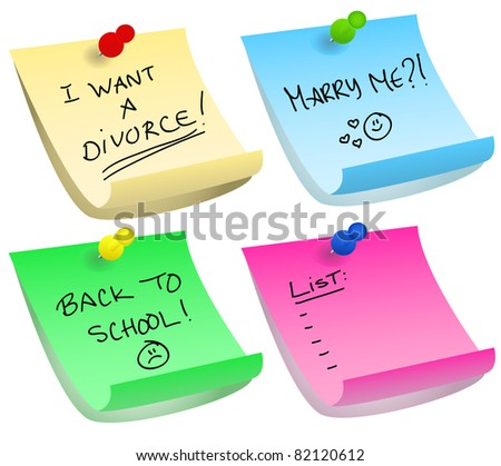 Various color options of push pins and sticky notes with different messages about divorce, proposal, back to school and simple list. - stock photo