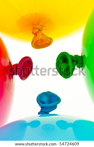 Various colorful balloons. Symbol of lightness, freedom, celebration