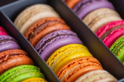 Various colorful macarons or French macaroons in a row in a gift box, sweet meringue-based confection made with egg white, icing sugar, granulated sugar, almond meal, and food colouring, close up