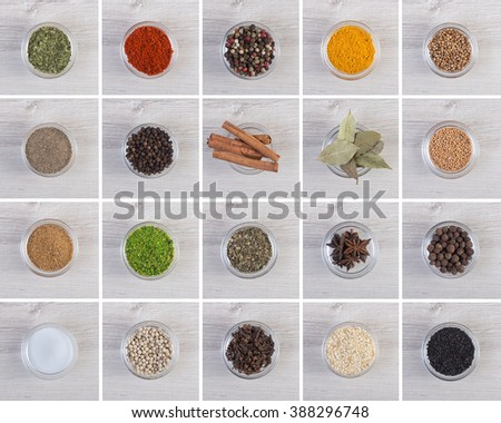 Various colorful spices and herbs on wooden texture table  #388296748