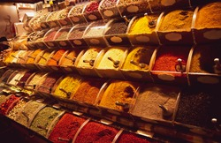 Various colorful spices at the Spice Bazaar Istanbul. Traditional eastern spice market.