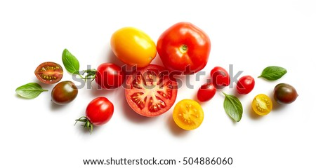 various colorful tomatoes and basil leaves isolated on white background #504886060
