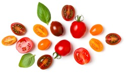 various colorful tomatoes and basil leaves isolated on white background. Top view, flat lay. Creative layout.