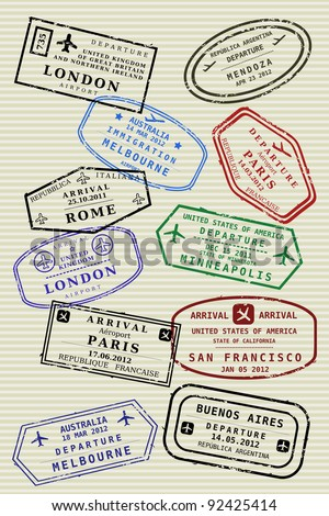 Various colorful visa stamps (not real) on a passport page. International business travel concept. Frequent flyer visas.