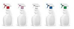 Various colors of Plastic Trigger Spray Bottle on white background. Front view.
