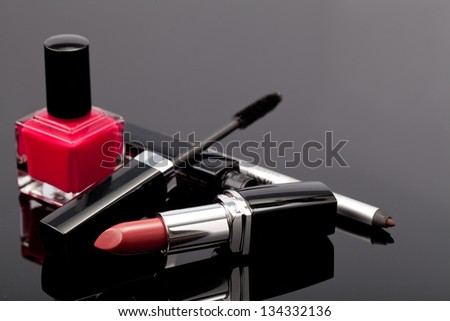 Various Cosmetics on grey background