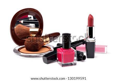 Various Cosmetics on white background - stock photo