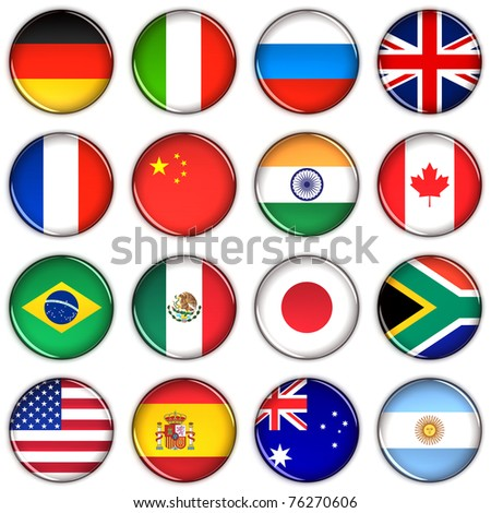 Various country buttons over white background #76270606