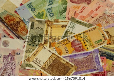 Various Currencies bank notes,Different money from many countries