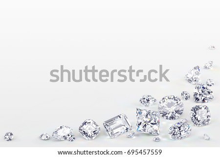 Various cut diamonds laying on white background along the corner of the image. Close-up view, 3D rendering illustration