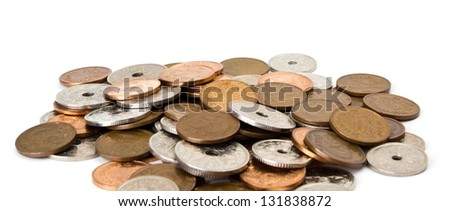 Various danish coins on a white background