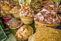 Various dried fish and squid in Taboan Public Market, Cebu City, Philippines