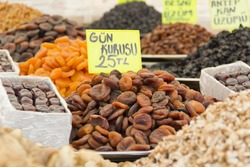 Various dried fruits and nuts in the turkish market