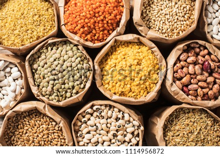 Various dried legumes high angle view #1114956872