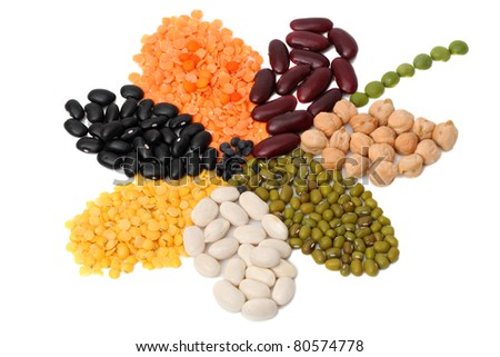 Various dry bean products stacked in the shape of a flower