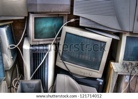 Various electrical stacked for land fill - stock photo