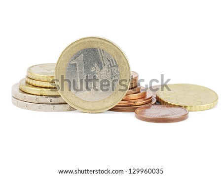 various EURO coins on a white background