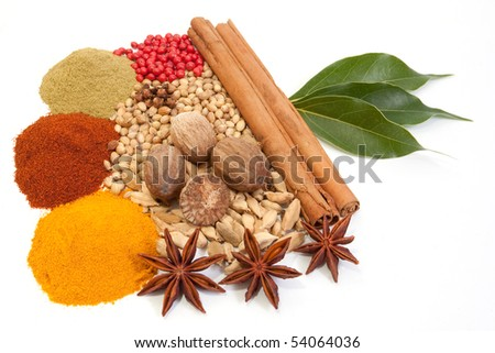 Various exotic spices isolated on white background