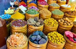 Various exotic spices, potion and herbs at the market
