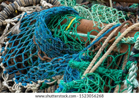 Various fishing nets and flouts