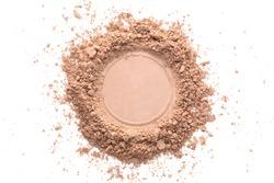 Various foundation powder makeup brushed on white background. Isolated