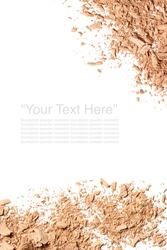Various foundation powder makeup brushed with text on white background. Isolated