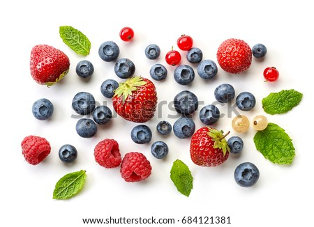 various fresh berries isolated on white background, top view #684121381