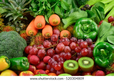 Various fresh fruits and vegetables for healthy