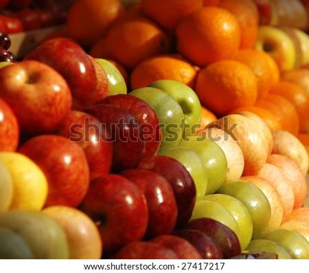 Various fresh fruits at the market
