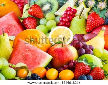 Various fresh healthy colorful fruits