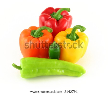 various fresh peppers isolated on white