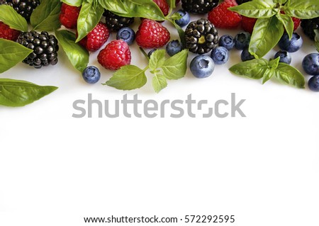 Various fresh summer berries on white background. Ripe raspberries, blackberries, blueberries, mint and basil leaves. Berries at border of image with copy space for text. Background berries. #572292595