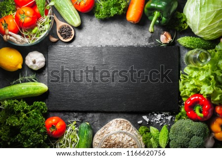 Various fresh vegetables organic food for healthy on dark rustic background with copy space for your text. #1166620756