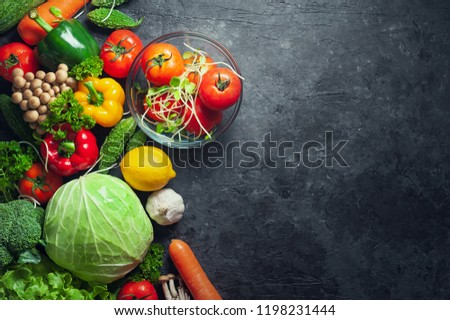 Various fresh vegetables organic food for healthy on rustic background with copy space for your text. #1198231444