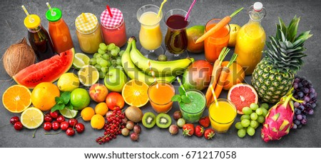 Shutterstock Various freshly squeezed fruits and vegetables juices