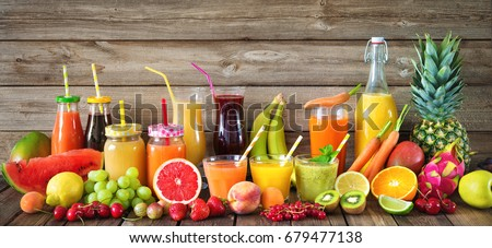 Various freshly squeezed fruits and vegetables juices #679477138