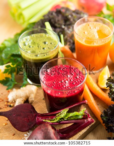 Various Freshly Squeezed Vegetable Juices